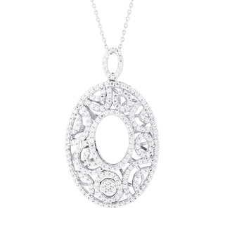 Blue Box Jewels Rhodium-plated Sterling Silver Cubic Zirconia Vintage Petals Necklace