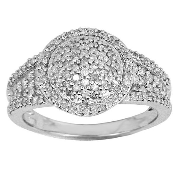 Sterling Silver 1/2ct TDW Pave White Diamond Ring