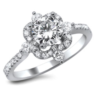 Noori 18k White Gold 1ct TDW Certified Diamond Round Cut Engagement Ring (G-H, SI1-SI2)