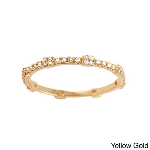14k Gold 1/5ct TDW Diamonds Geometric Stackable Eternity Band Ring by Beverly Hills Charm