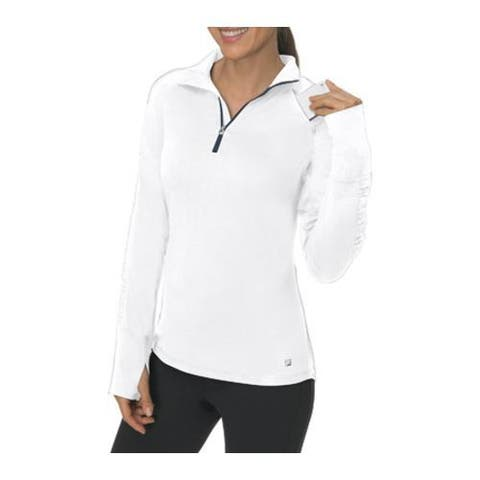 Women's Fila 1/4 Zip Long Sleeve Top White