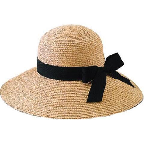 Women's San Diego Hat Company Raffia Large Brim Hat RHL13C Natural/Black Ribbon
