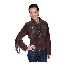 Women's Scully Leather Boar Suede Jacket L152 Chocolate