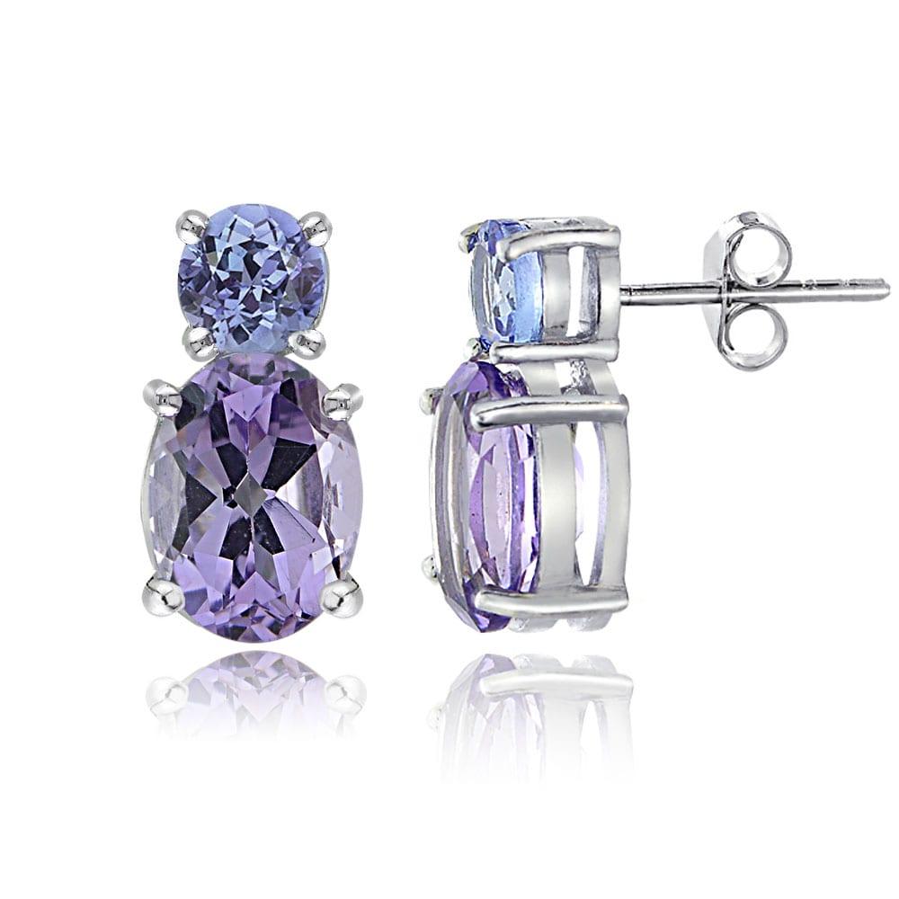 Glitzy Rocks Sterling Silver Oval Amethyst Tanzanite Earrings