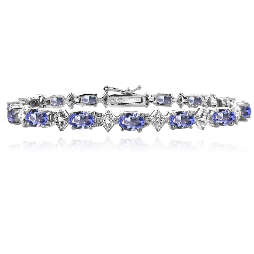 Glitzy Rocks Sterling Silver Tanznaite Diamond Accent Bracelet