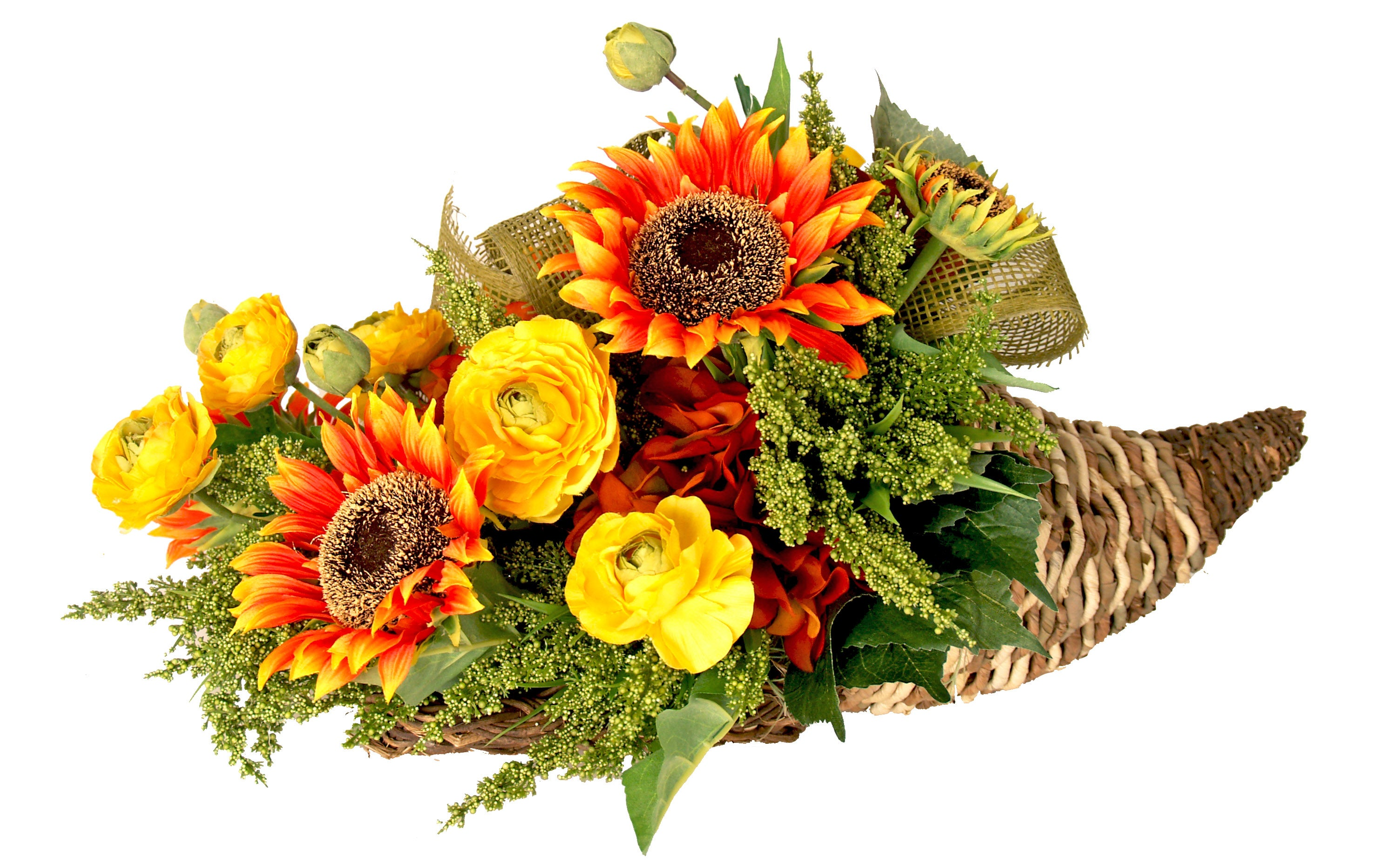 Creative Displays Sunflowers/ Yellow Ranunculus in Fall Cornucopia