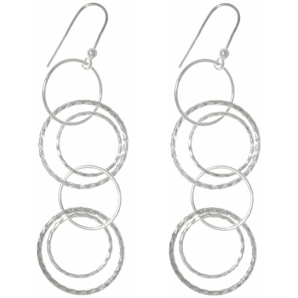 Carolina Glamour Collection .925 Sterling Silver Round Link Hoop Long Dangle Earrings