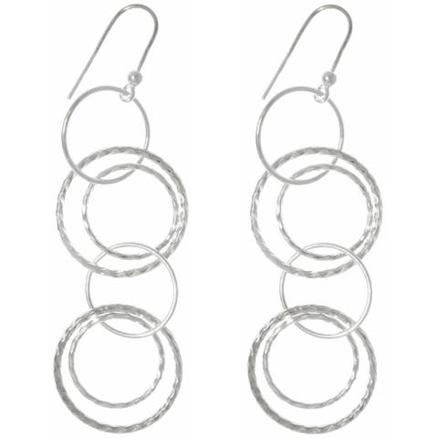 Sterling Silver Round Link Hoop Long Dangle Earrings