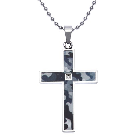 Stainless Steel Camo and Black Plated Diamond Accent Cross Pendant