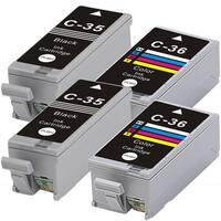 Canon PGI35 + CLI36 (Black+Color) Compatible Inkjet Cartridge (Remanufactured) (Pack of 4)