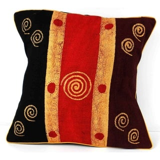 Handmade Geometric Spirals Batik Design Cushion Cover (Zimbabwe)