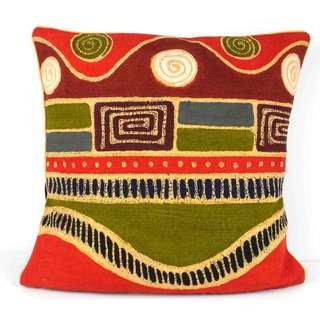 Handmade Geometric Wave Batik Design Cushion Cover (Zimbabwe)