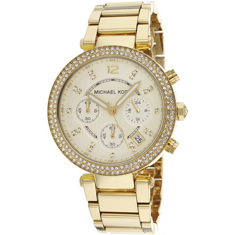 Michael Kors Women's 'Parker' Yellow Gold-tone Crystal Watch - GOLD