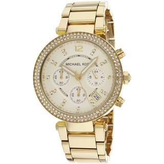 Michael Kors Women's MK5354 'Parker' Yellow Gold-tone Crystal Watch|https://ak1.ostkcdn.com/images/products/8700605/P15951724.jpg?impolicy=medium