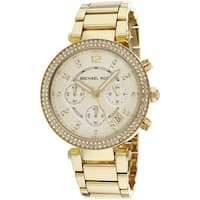 Michael Kors Women's MK5354 'Parker' Yellow Gold-tone Crystal Watch - GOLD