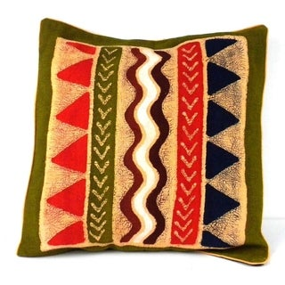 Handmade Geometric Water Design Batik Cushion Cover (Zimbabwe)