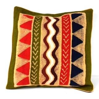 Handmade Geometric Water Design Batik Cushion Cover (Zimbabwe)
