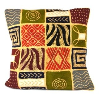 Handmade Geometric Patches Design Batik Cushion Cover (Zimbabwe)