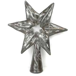 Handmade 8-inch Metal Art Star Tree Topper , Handmade in Haiti