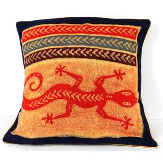 Handmade Lizard Design Batik Cushion Cover (Zimbabwe)