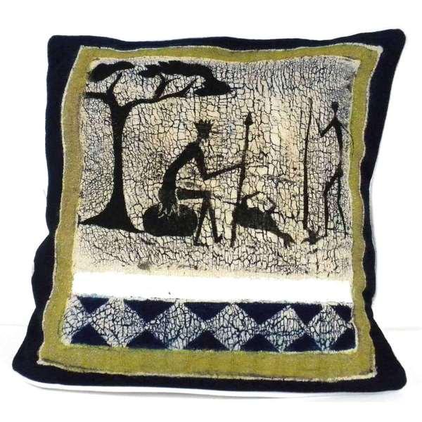 Handmade Hunting Scene Batik Cushion Cover (Zimbabwe)