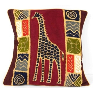 Handmade Giraffe Design Batik Cushion Cover (Zimbabwe)
