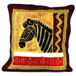 Handmade Zebra Design Batik Cushion Cover (Zimbabwe)