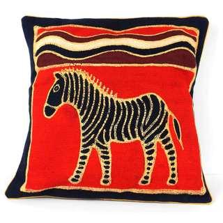 Handmade Standing Zebra Batik Cushion Cover (Zimbabwe)
