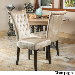 Venetian Tufted Dining Chairs (Set of 2) by Christopher Knight Home (Upholstered/Wood - Velvet/Polyester Blend - Champagne - Traditional - Parson
