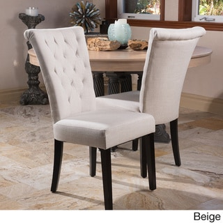 Christopher Knight Home Venetian Tufted Dining Chairs (Set of 2) by  (Wood - Polyester/Polyester Blend - Beige - Modern and Contemporary - Dining