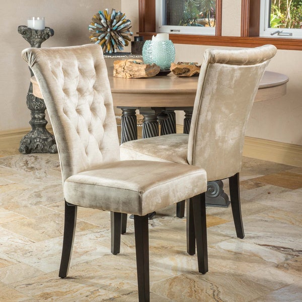 grey tufted dining chairs with nailheads venetian set knight home morgana parsons chair of 2 dove gray lydia
