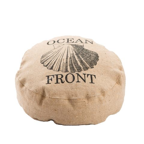 Modern Tan/ Black Round Jute Floor Pillow