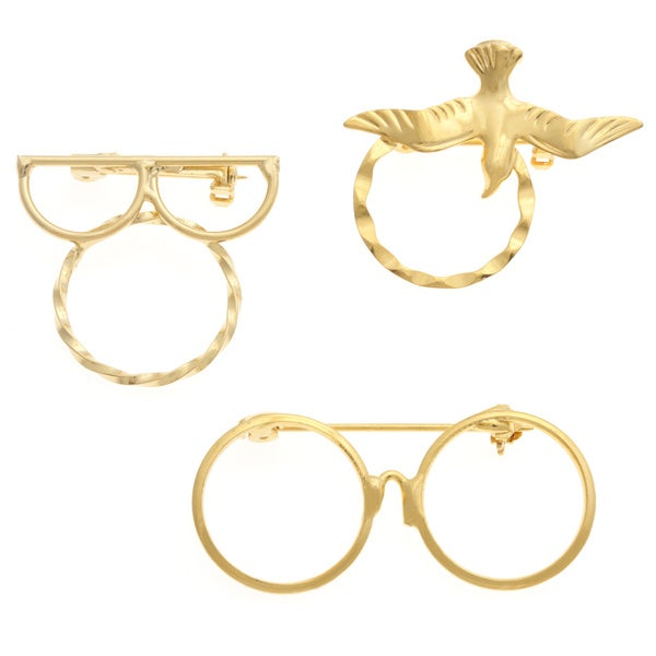 Detti Originals SPEC Glasses and Dove 3-piece Spectacle Brooch Set
