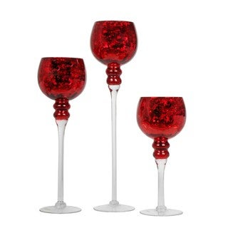 Red 3-piece Mercury Glass Stem Vases