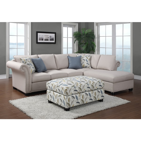 Emerald Paige 2-piece Beige Sectional and Ottoman