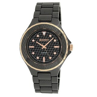 Roberto Bianci Unisex Black Ceramic Stamped Design Watch