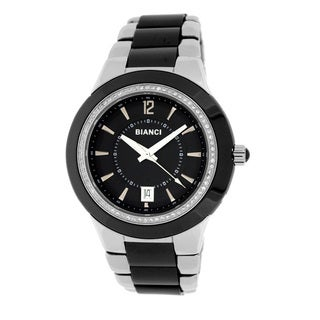 Roberto Bianci Men's 'Eleganza' Black Ceramic Cubic Zirconia Bezel Watch