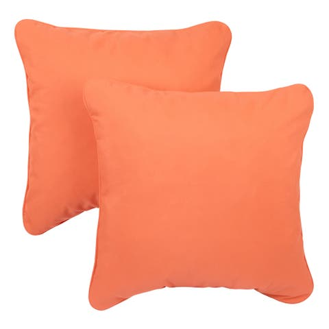 Melon Corded Indoor/ Outdoor Square Throw Pillows with Sunbrella Fabric (Set of 2)