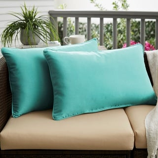 Aruba Blue Corded Indoor/ Outdoor 13 x 20 inch Pillows with Sunbrella Fabric (Set of 2)
