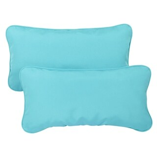 Aruba Blue Corded Indoor/ Outdoor 12 x 24 inch Lumbar Pillows with Sunbrella Fabric (Set of 2)