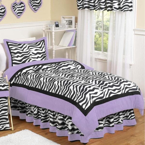Sweet Jojo Designs Purple Funky Zebra 3-piece Full/Queen Comforter Set