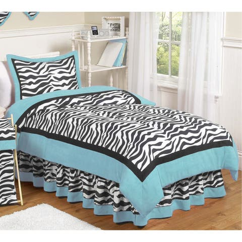 Sweet Jojo Designs Turquoise Funky Zebra 3-piece Full/Queen Comforter Set