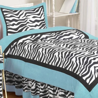 Sweet Jojo Designs Turquoise Funky Zebra 3 piece Full Queen Comforter Set. Zebra Black White 7 piece Bed in a Bag with Sheet Set   Free
