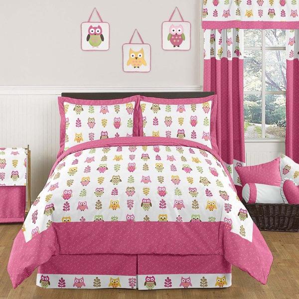 Sweet Jojo Designs Pink Happy Owl 3-piece Full/Queen Comforter Set