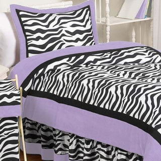Sweet Jojo Designs Girls 'Funky Zebra' 4-piece Twin Comforter Set