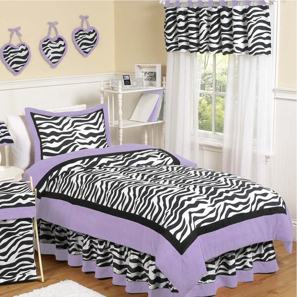 Sweet Jojo Designs Girls 'Funky Zebra' 4-piece Twin Comforter Set
