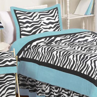 Sweet Jojo Designs Girls 'Funky Zebra' Turquoise 4-piece Twin Comforter Set