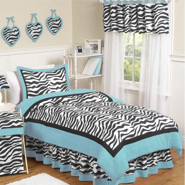Sweet Jojo Designs Girls 'Funky Zebra' Turquoise 4-piece Twin Comforter Set