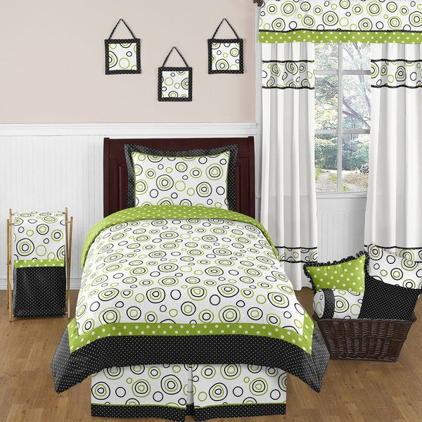 Sweet Jojo Designs Neutral 'Spirodot' Lime/ Black 4-piece Twin Comforter Set