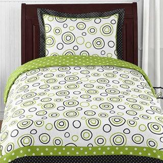 Sweet Jojo Designs Neutral 'Spirodot' Lime/ Black 4-piece Twin Comforter Set